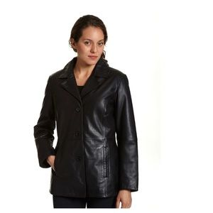 new york and company Black 100% Leather Jacket